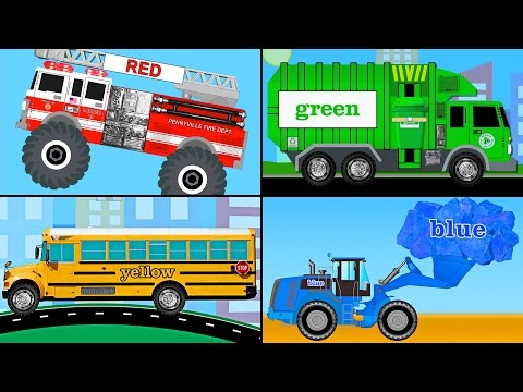 Learning Colors Collection Vol. 2 - Learn Colours Monster Trucks, Garbage Trucks, Tow Trucks