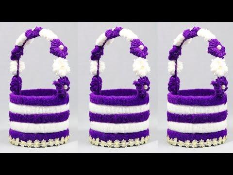 best-out-of-waste-water-bottle-craft-–-plastic-bottle-basket-–-craft-ideas-with-woolen