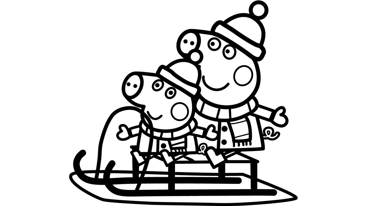 Peppa Pig Christmas Sleigh Colouring Peppa Pig Coloring Page YouTube