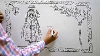 madhubani painting -a lady in a village