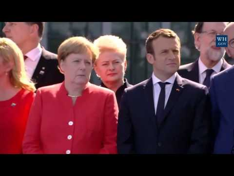 President Donald Trump Laughs a Little When Thanking Chancellor Angela Merkel on NATO Meeting