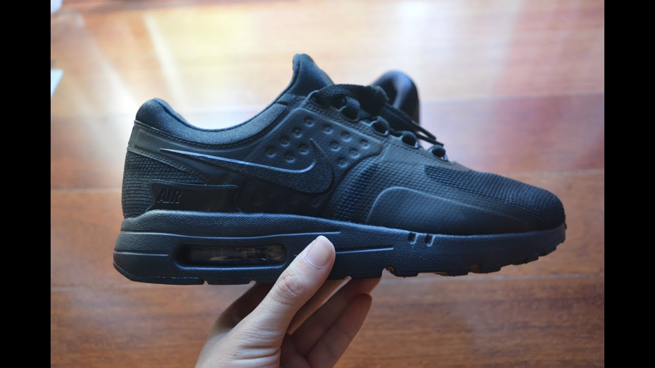 2b19e0ac562d65 Nike Air Max Zero Triple Black Unboxing - YouTube