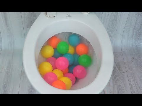 Will it flush? Lots of Colorful Balls and Toy Bricks Amazing Experiment