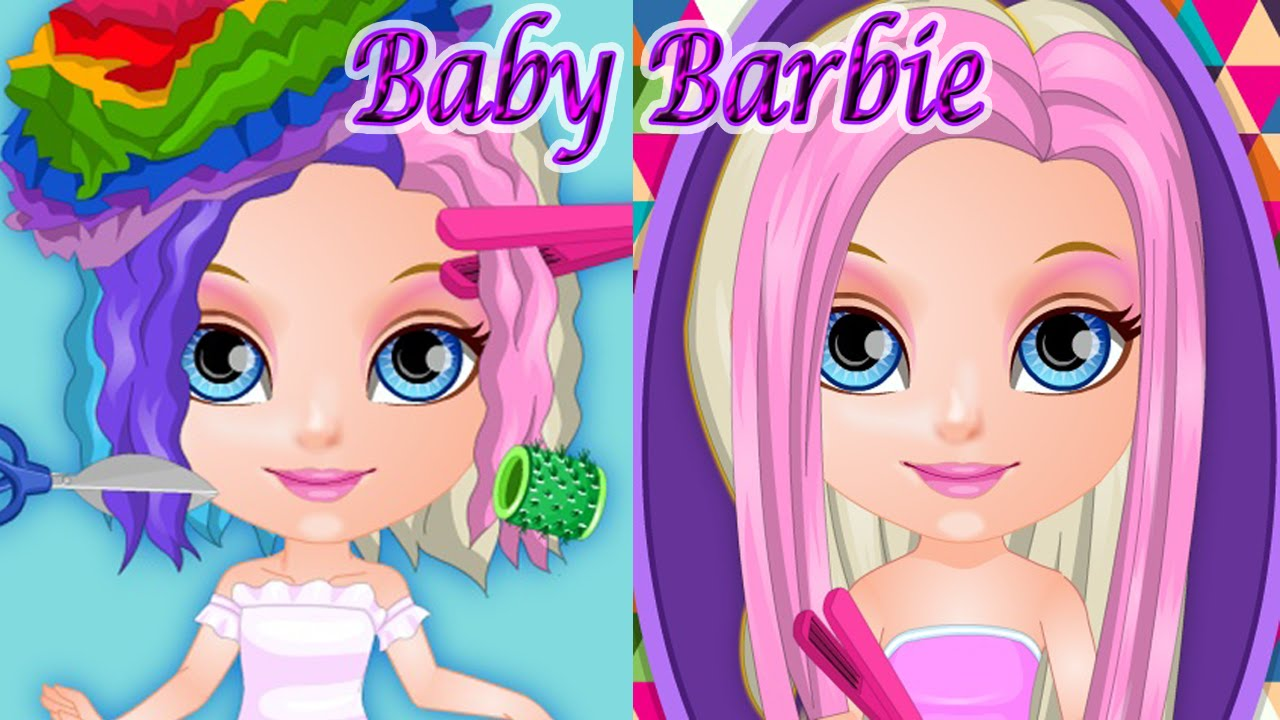 Baby Barbie Crazy Haircuts Cute Game for Girls - YouTube