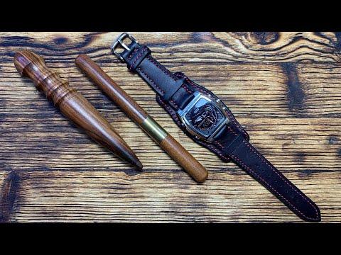 Браслет «Напульсник» для наручных часов из кожи Флотер от #wildleathercraft