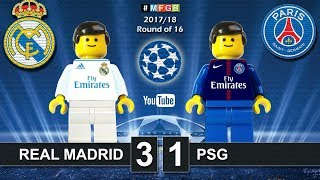 Real Madrid vs PSG Paris Saint-Germain 3-1 • Champions League 2018 (14/02/2018) Goals Lego Football