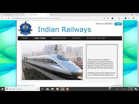 railway reservation project in php with source code