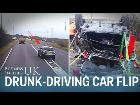 Drunk-driver flips car 14-feet in the air over roundabout with toddler in  back seat