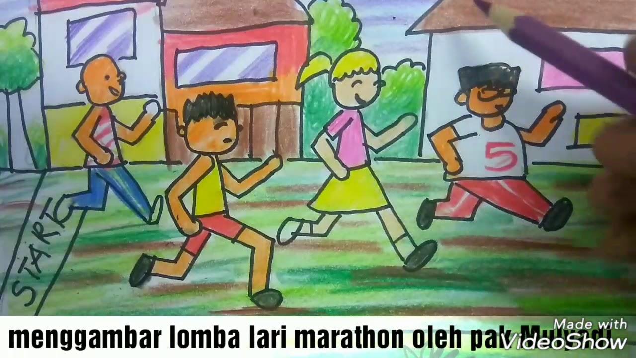 Cara Menggambar Dan Mewarnai Tema Lomba Lari Dan Kemerdekaan 17 Agustus Youtube