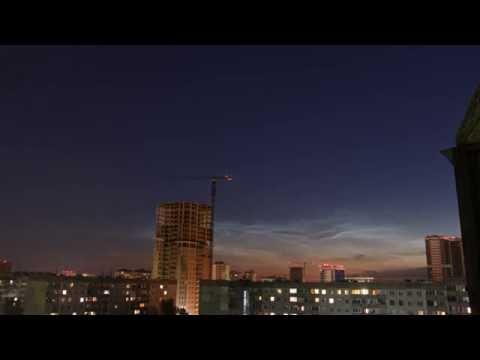 видео: Серебристые облака Noctilucent cloud таймлапс Новосибирск 2016