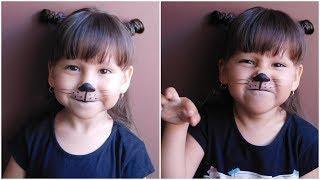MAQUILLAJE  Y PEINADO DE GATITO PARA NIÑOS  EASY CAT MAKEUP FOR KIDS