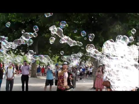 Big Soap Bubbles Show. Seen in London South Bank. Street Art and Street Performer