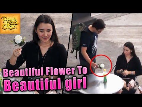 Beautiful Flowers To Beautiful Girls  Adorable Reactions  Prank Asia