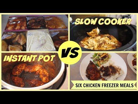 Six Chicken Freezer Meals - Slow Cooker vs Instant Pot