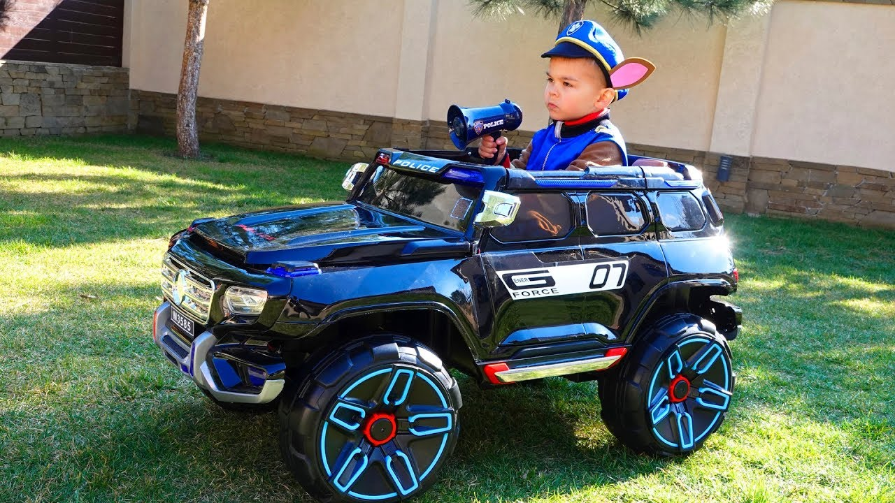 New police power wheels Jeep let's unboxing