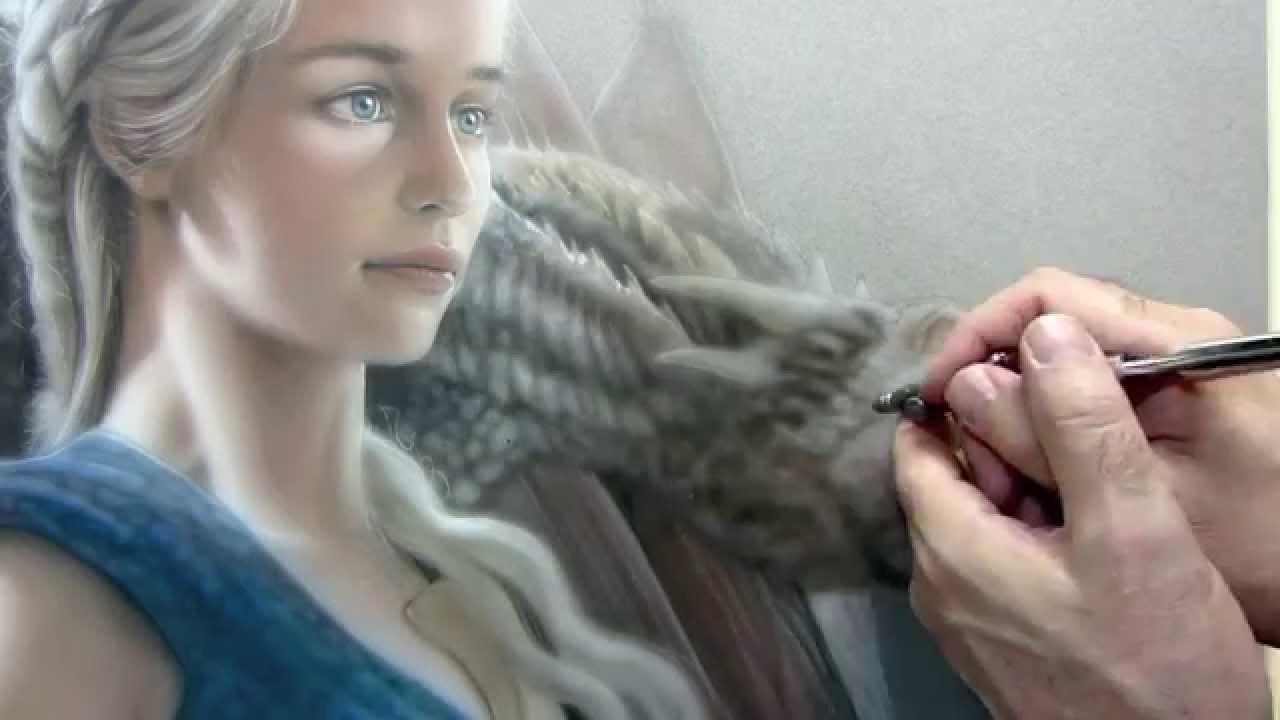 Daenerys Targaryen Airbrush / Colored Pencil Time Lapse ...