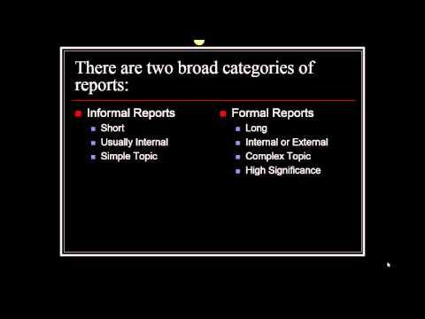 Formal Reports Vs. Informal Reports