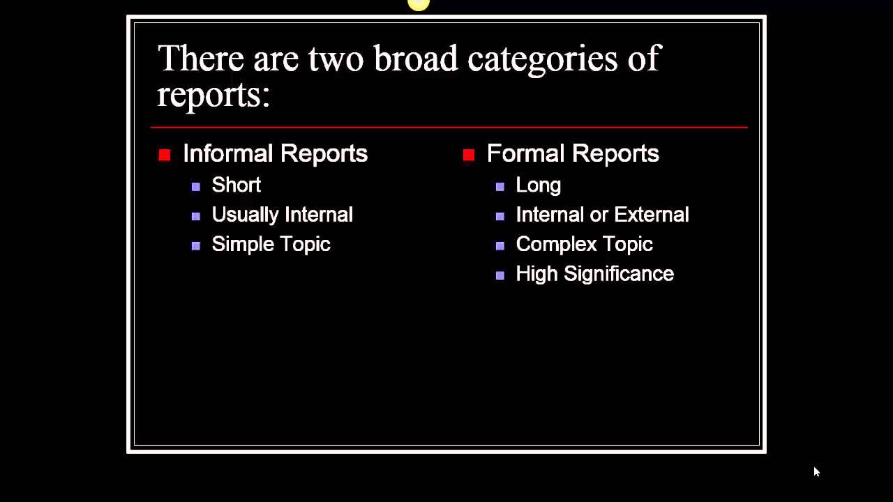 formal reporting