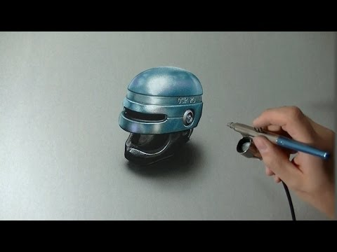 Drawing Time Lapse: Robocop helmet – hyperrealistic art