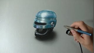 Drawing Time Lapse: Robocop helmet - hyperrealistic art