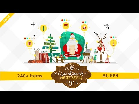 the archive contains vector files ai eps christmas generator v10 containing more than 240 items