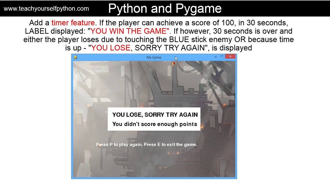 HowTo: Pygame and Python - creating a game with various features