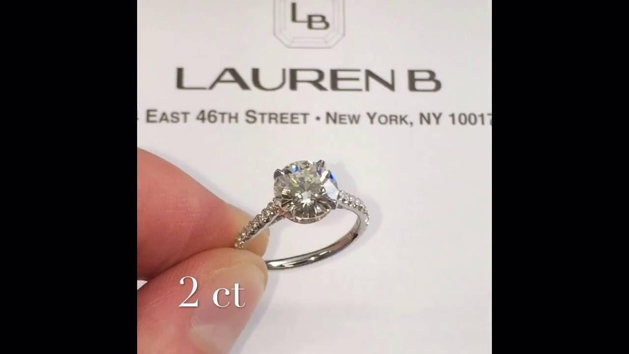 2 Carat Round Diamond Engagement Ring Lauren B Jewelry