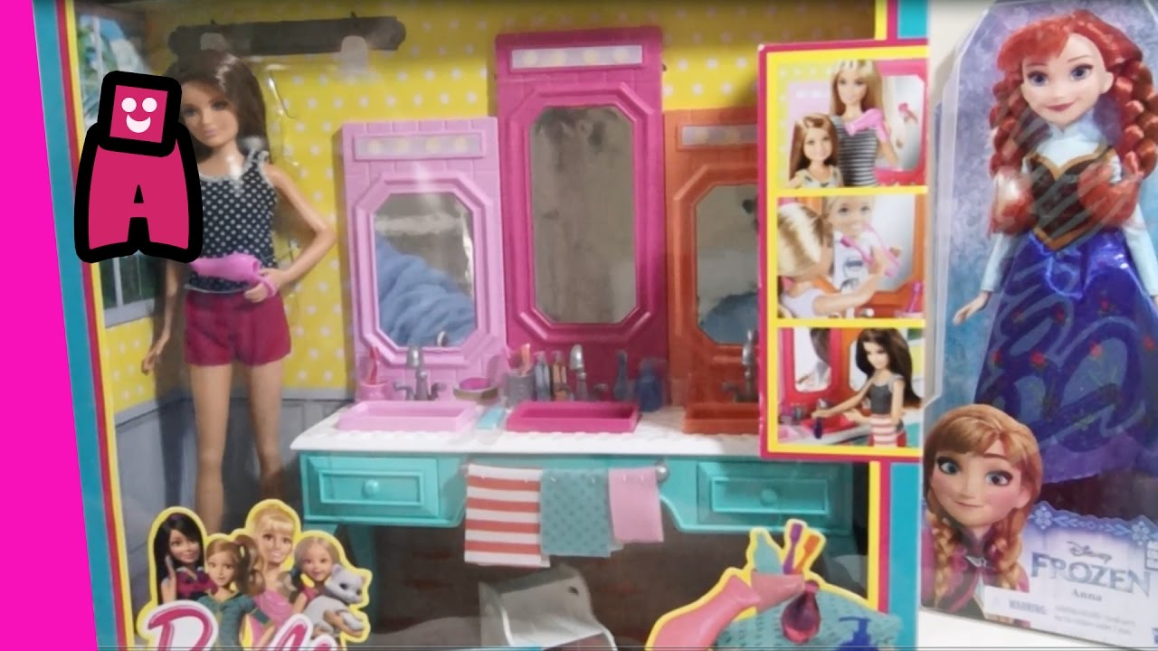 Barbie Bathroom Vanity Set With Featuring Frozen Elsa And Chelsea