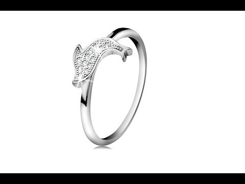 Jewellery - Ring made of 925 silver, glossy jumping dolphin, tiny clear zircons