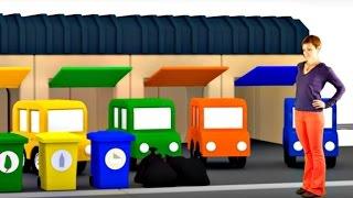 Развивающий мультик про машинки для детей. 4 машинки. Убираем мусор.