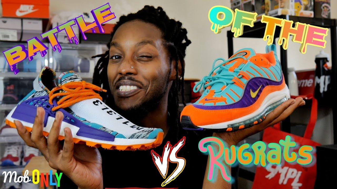 "half off 494ac fcad1 Battle of The Rugrats Air Max 98 Cone Vs Pharrell Williams x adidas NMD Hu  ""Solar Pack"" on foot"