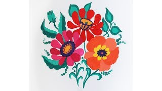 Уроки рисования. Как нарисовать декоративные цветы гуашью  how to draw flowers | Art School
