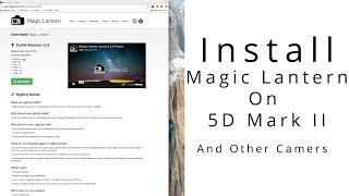 Installing Magic Lantern On The Canon 5D Mark II