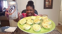 12 Deviled Eggs with A&W Diet Rootbeer