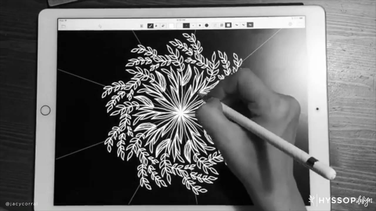 Mandala Wreath Time Lapse   iPad Pro + Apple Pencil ...