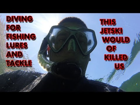 Diving for Treasure! Jet ski could of Killed us. Found Lures+Tackle+cross