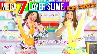 MEGA 7 LAYER SLIME Challenge  + SLIME SMOOTHIE | Slimeatory #10 + Giveaway