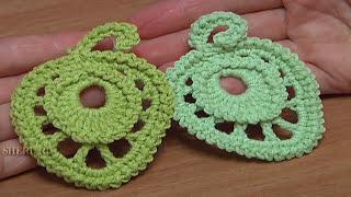 Crochet Leaf  Free Pattern Урок 14 Вязание крючком Листик выполненный круговыми рядами