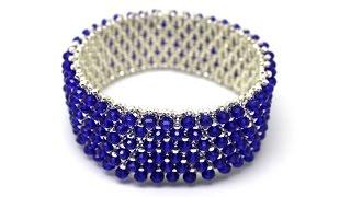 Широкий браслет без застежки из бисера и хрустальных бусин DIY Bracelet from beads