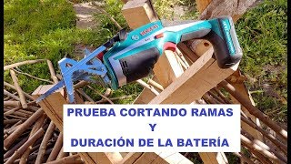BOSCH KEO PRUEBA CORTANDO RAMAS Y DURACION BATERIA PROOF CUTTING BRANCHES AND DURATION BATTERY