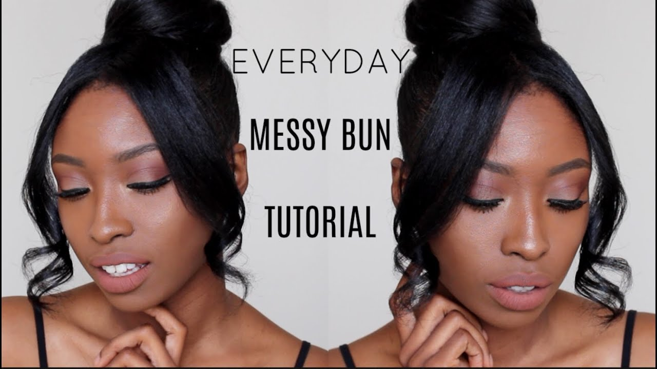 everyday messy bun & bang | quick & easy natural hairstyles