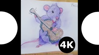 ⭐  Coloring for kids Mouse rock star - apple tv 4k video. Drawing and coloring - 4k tv.