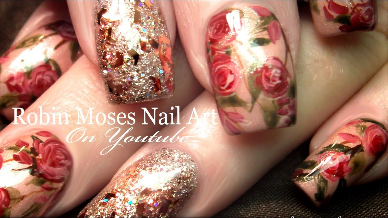 Hand Painted Rosegold Nails | Gold Glittery Pink Roses Nail Art ...