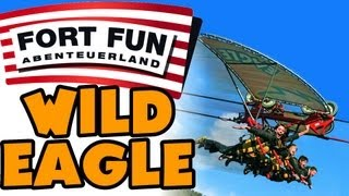 Wild Eagle @ Fort Fun Abenteuerland - On-Ride POV - Sky Glider (Zip Line)