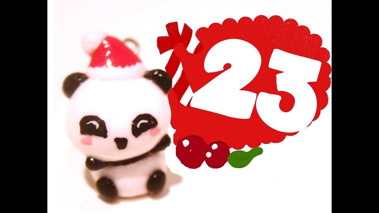 ❤ Christmas Panda! Kawaii Christmas 23 -Polymer Clay tutorial - YouTube