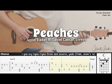 Peaches - Justin Bieber ft. Daniel Caesar, Giveon   Fingerstyle Guitar   TAB + Chords + Lyrics