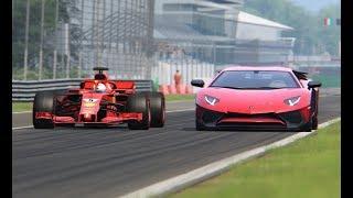 Ferrari F1 2018 vs Lamborghini Aventador - Monza