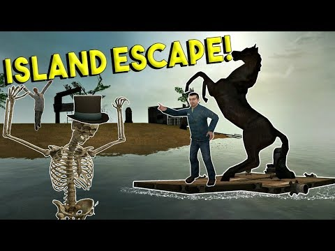 HAUNTED ISLAND ESCAPE & BUILDING BOATS! - Garrys Mod Gamepla