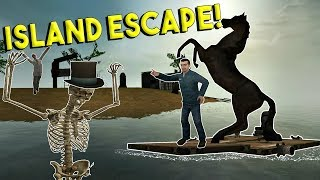 HAUNTED ISLAND ESCAPE & BUILDING BOATS! - Garrys Mod Gameplay - Gmod Multiplayer Sandbox Challenge