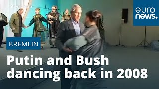 Archive footage released of George W Bush and Vladimir Putin dancing